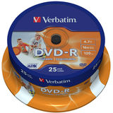 DVD-R 4.7GB 16x Wide Inkjet Printable ID Brand 25 buc.