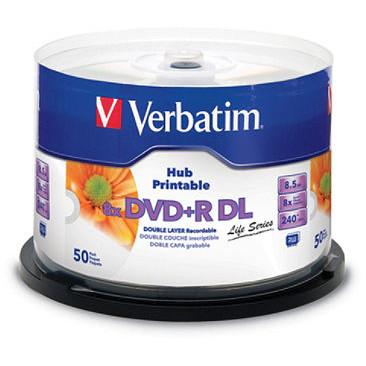 VERBATIM DVD+R DL 8.5GB 8X INKJ 50PK SPN