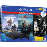PlayStation 4 Slim 1TB Black + God of War + Horizon Zero Dawn Complete Edition + The Last of Us Remastered