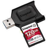 Card de Memorie Kingston SDXC UHS-II U3 Canvas React PLUS 128GB Clasa 10 + cititor USB